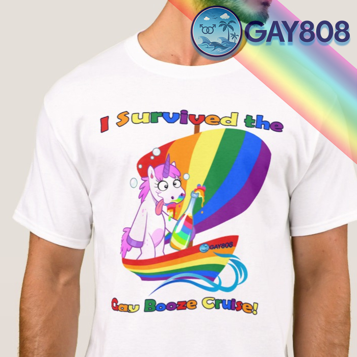 """I Survived the Gay Booze Cruise!"" T-Shirt"